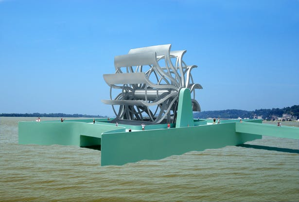 The Great River Turbine, a floating tourist attraction that is placed into a river near a city like St. Louis. It would generate electricity for the city from the current of the river.