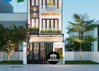 Thiết kế mặt tiền nhà phố 5m hiện đại với 3 tầng có sân thượng