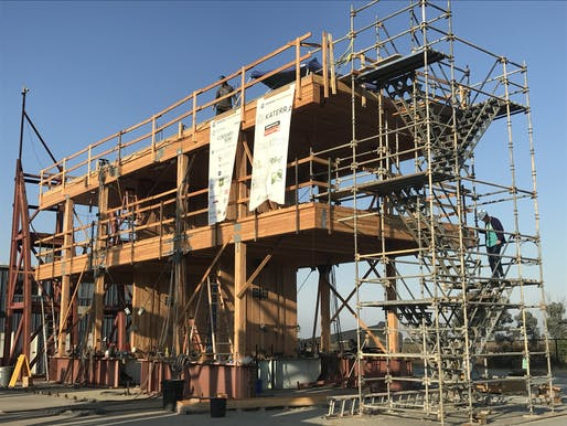 Photo: A cross-laminated timber panel structure undergoing seismic testing at the National Hazard Engineering Research Infrastructure site in San Diego. Image courtesy of Oregon State University.