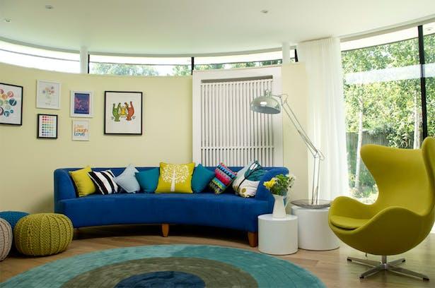 kids colourful tv room