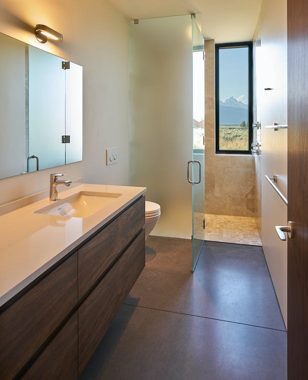 Stunning Teton Range views as seen from the master bath Thermo Clad window from Zola.