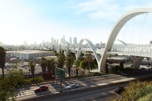 View of the proposed Sixth Street Viaduct in Los Angeles. Image courtesy of Michael Maltzan Architecture.