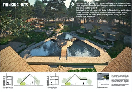 Pavilosta Poet Huts, a competition project to design poet huts with different requirements.