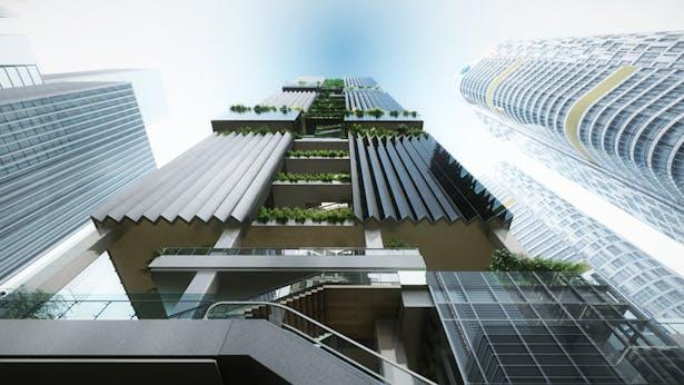 Shenzhen Transsion Tower, West Facade, Image by Aedas