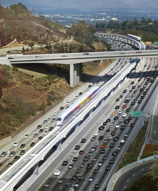 Gensler rendering of the LA SkyRail Express in the median of the 405 near Mullholland. Image courtesy of LA Skyrail Express