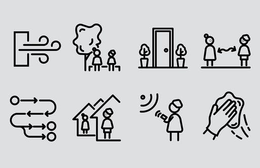 "Icons from MASS Design Group's ""Designing Senior Housing for Safe Interaction; The Role of Architecture in Fighting COVID-19"""