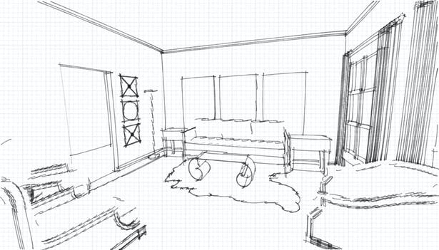 Quick Sketch of Living Room