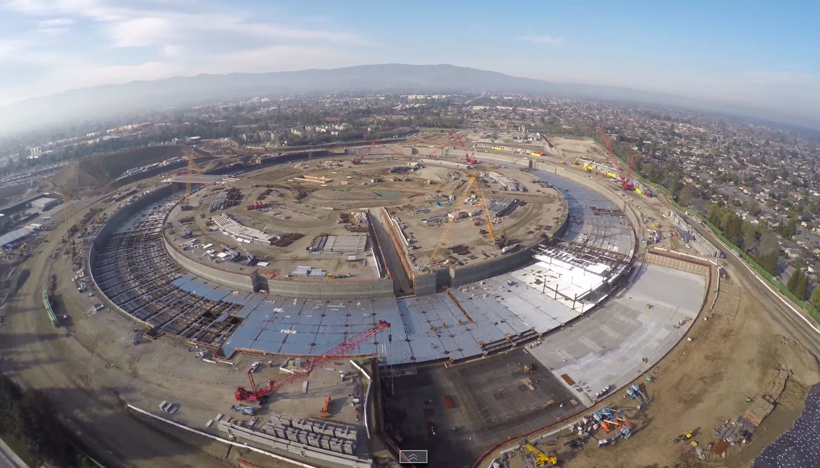 Drone footage shows the latest construction status of the Foster