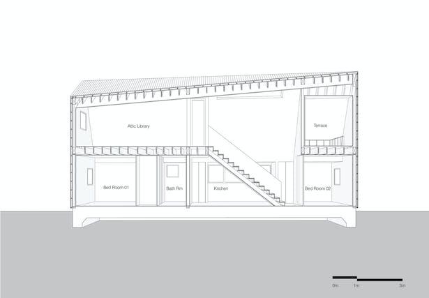 Shear House by stpmj, Longitudinal Section