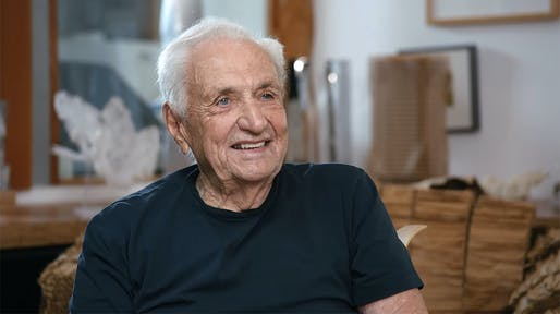 Still image of Frank Gehry in Gagosian Gallery's interview with the architect. Watch the full video below.
