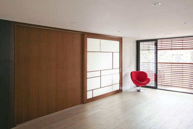 Mezzanine Level Office with Translucent Shoshi Screen-Like Sliding Door