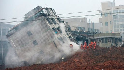 The massive landslide pushed multistory structures over like toy buildings. Dozens of people are still unaccounted for. (Image via bbc.com)