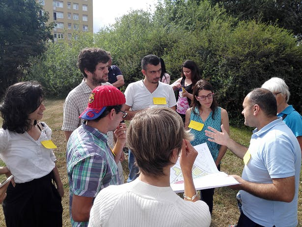 Outdoors, on-site workshop during the participatory process