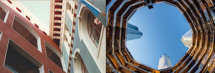 Left: Looking up at Horton Plaza, Image courtesy of David Marshall, AIA. Right: A view looking up at The Vessel, Image courtesy of Wikimedia user Raphe Evanoff.