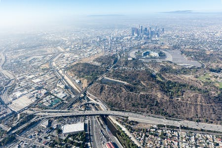 Los Angeles River, Dodger Stadium and Downtown LA. Photography © Iwan Baan 2020