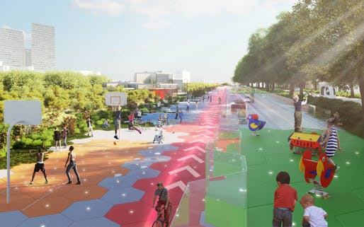 CRA's vision for the Boulevard Périphérique in Paris calls for new playgrounds and public space, image courtesy of Carlo Ratti Associati.