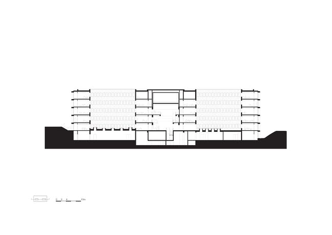 Institut des Sciences Moléculaires d'Orsay (ISMO) by KAAN Architecten, located in Orsay, FR. Drawing: KAAN Architecten.