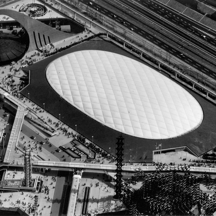 Aerial view of the 1970 US Pavilion for the EXPO 70 World's Fair in Osaka. Image courtesy of Davis Brody Bond.