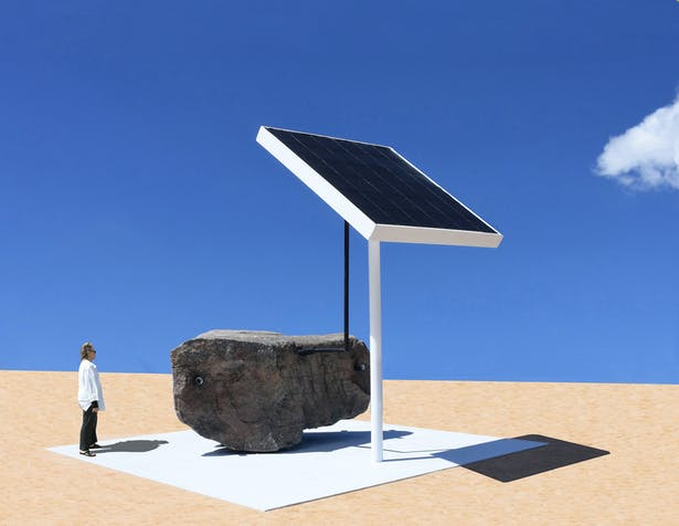 The Sun Rock that makes electricity from the sun and stores it inside of the rock for the local community.