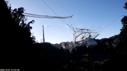 Screenshot of NSF-released video footage of collapse