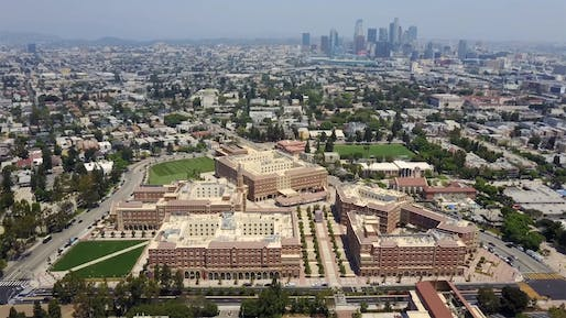 Aerial view of the USC campus in South Los Angeles.