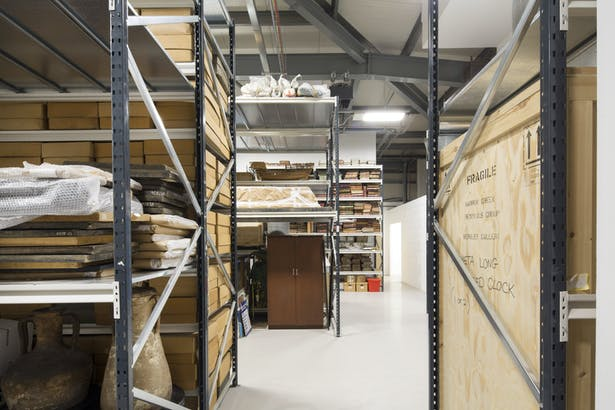 Open racking within the general collection room at the new Royal Greenwich Heritage Trust archive