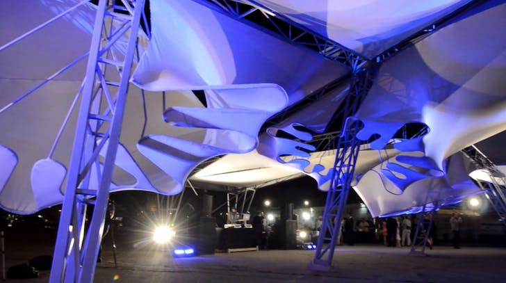 Oyler Wu Collaborative's STORMCLOUD pavilion at SCI-Arc (image screenshot from OWC's video).