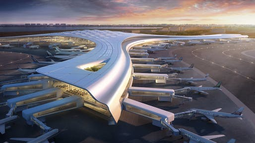 Dalian International Airport Design Competition entry rendering by Corgan, located in Dalian, China. Image: Corgan.