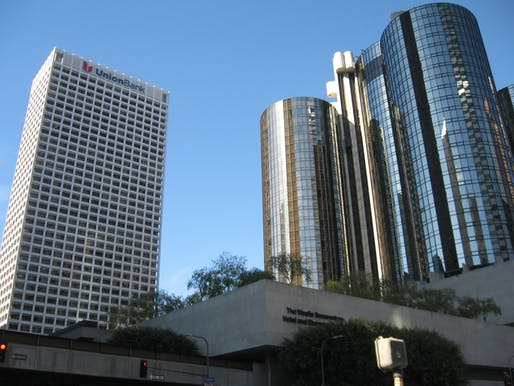 The Union Bank Plaza tower (left) has been landmarked in Los Angeles. Image courtesy of Wikimedia Commons / Selvingarcia.