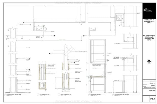 Enlarged Details Sheet - This Page Contains Enlarged Details of the Conference Room Sections, Reception Room Stone Wall Sections and the Administrative Assistant Section.