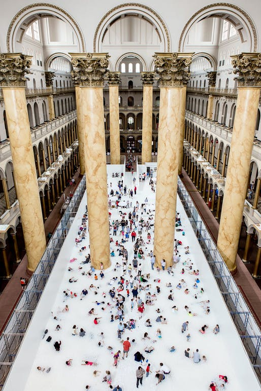 Snarkitecture's The BEACH was the 2018 Summer Block Party installation inside the Great Hall at the National Building Museum. Photo by Noah Kalina.