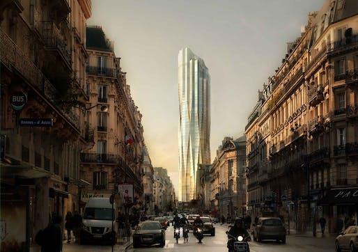 The new Tower, seen from the Rue de Rennes // La nouvelle Tour, depuis la rue de Rennes. © Studio Gang and Labtop
