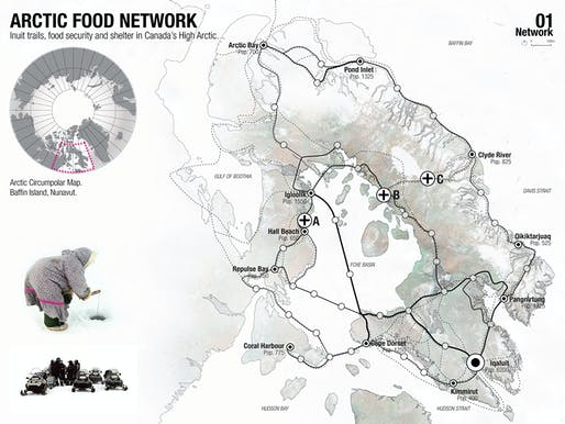 Holcim Gold Award: Regional food-gathering nodes and logistics network, Iqaluit, NU, Canada by Mason White, Lateral Office / InfraNet Lab, Toronto, ON, Canada in collaboration with Lola Sheppard and Fionn Byrne, Lateral Office / InfraNet Lab, Toronto, and Nikole Bouchard, Lateral Office / InfraNet Lab, Princeton, NJ, USA: Regional scale – Inuit trails, food security and shelter in Canada's high arctic.