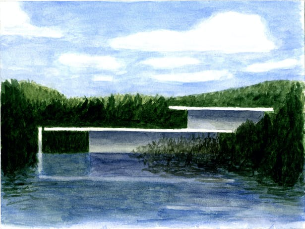 Elevation showing floating planes from lake