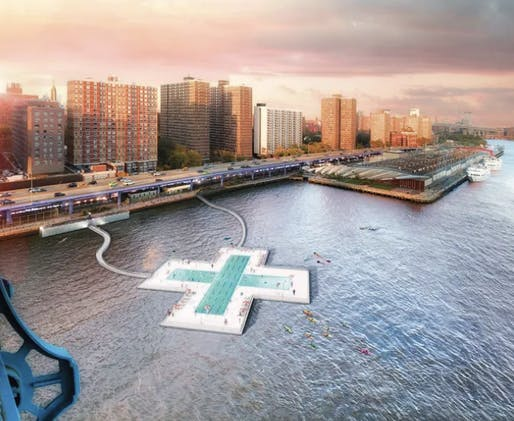 A new rendering of the Plus Pool in Manhattan's Two Bridges neighborhood. Rendering by Luxigon
