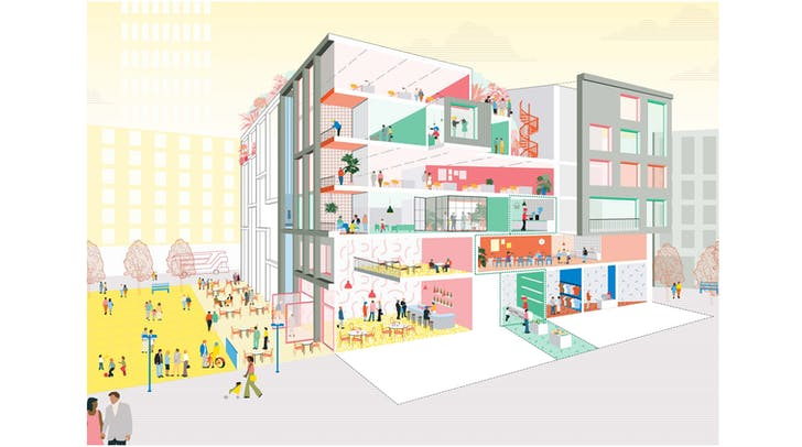 British Land reimagining retail space visualization. Image via SODA