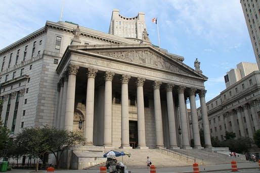 The New York State Supreme Court building at 60 Centre St. Image courtesy Wikimedia Commons user Bjoertvedt