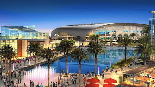 An artist's rendering of the proposed City of Champions Revitalization Project in Inglewood. Credit: HKS Inc.