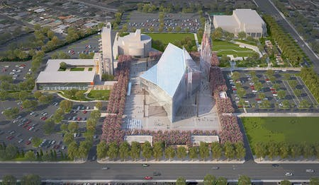 Crystal Cathedral, courtesy of Johnson Fain, rendering by Shimahara Illustration