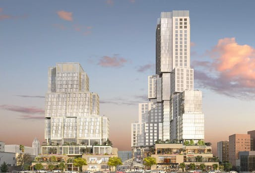 View of The Grand, a Gehry Partners-designed mega-project slated for Downtown Los Angeles. Image courtesy of Related Companies.