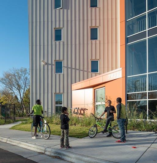 7933 Tree Lane Housing - Design Team: Heartland Housing, Valerio Dewalt Train, McGann Construction Inc., Ayres Associates, Pierce Engineers, Inc., and WMA Consulting Engineers. Image courtesy of SEED Awards