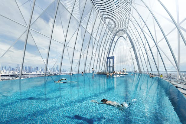 Tianshan Gate of the World Plots 27 and 28, Shijiazhuang, China, by Aedas