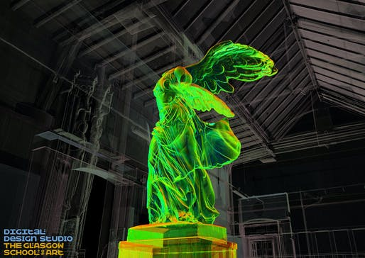 'Winged Visionary in the Mackintosh Museum,' created via 3D rendering/pointcloud by the GSA. Image: The Digital Design Studio at The Glasgow School of Art.