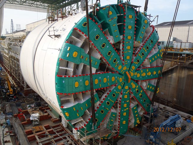 Bertha near completion back in 2012 before its shipment to Seattle. Photo: Washington State Department of Transportation on Flickr.