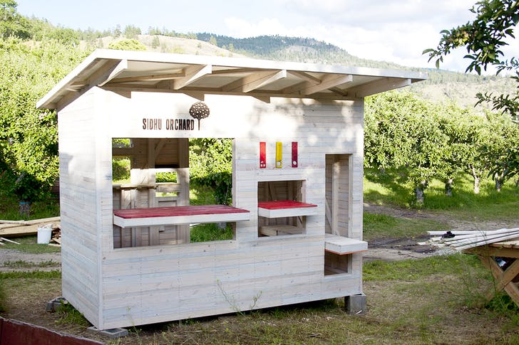 'Pear Studio', DBR's fruit stands for orchards on the Naramata Bench in the Okanagan Valley, BC.