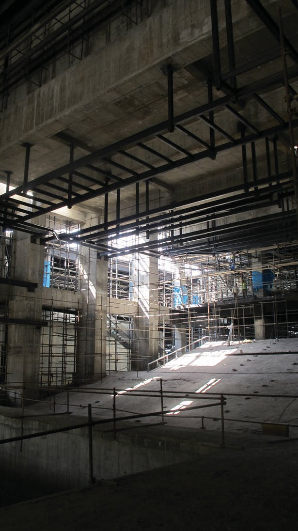 inside the main auditorium, under construction