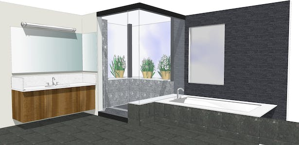 The master suite bathroom features dark grey tiles in marble, basalt, and slate, and rosewood cabinetry.