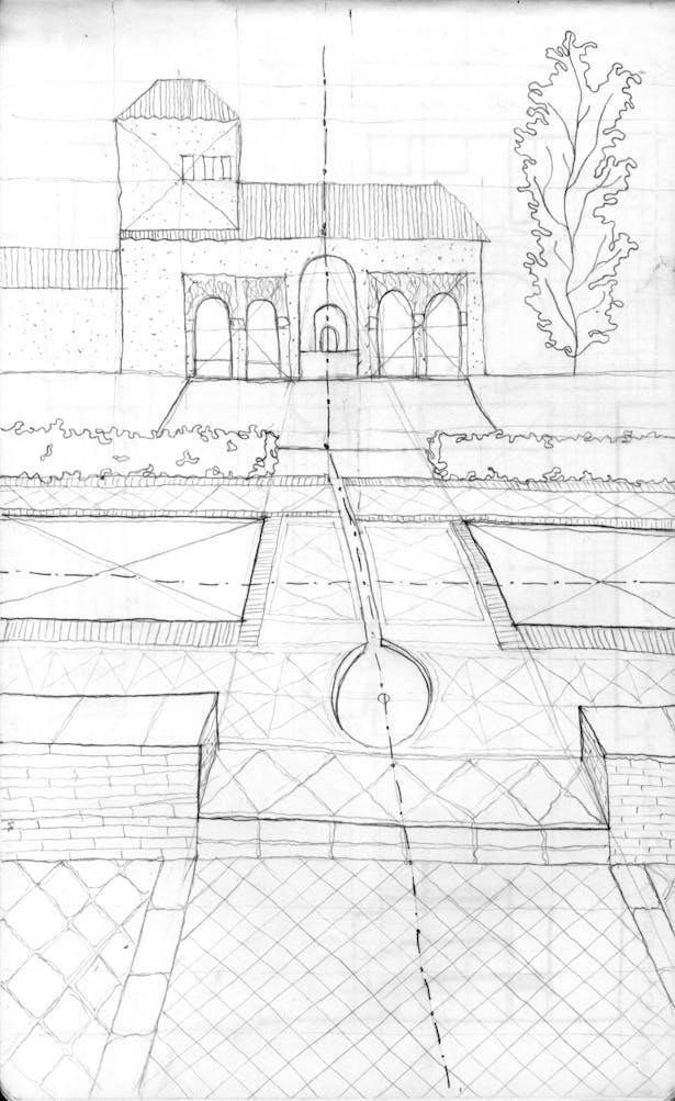 sketch at Alhambra in Granada, Spain
