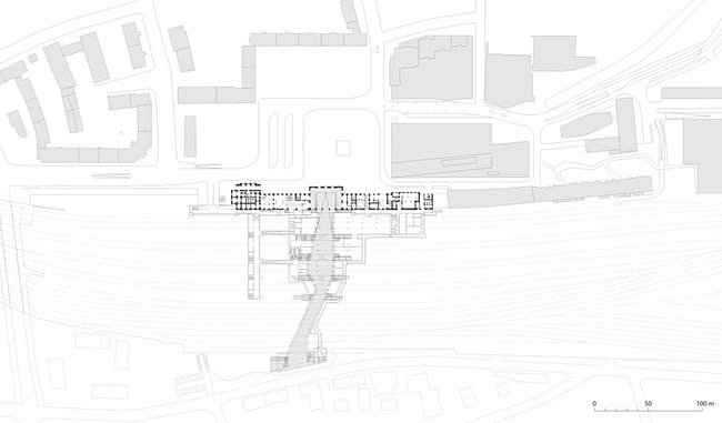 Salzburg Central Station, passage level diagram. Image: kadawittfeldarchitektur.