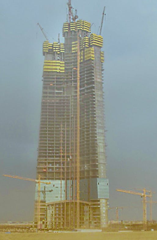 Construction progress on Jeddah Tower on January 2, 2018. Image via Wikipedia.